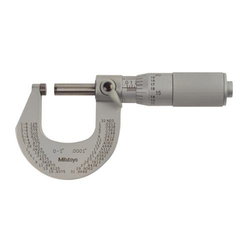 "Mitutoyo 101 Series Micrometer 0-1"" with Ratchet Stop"